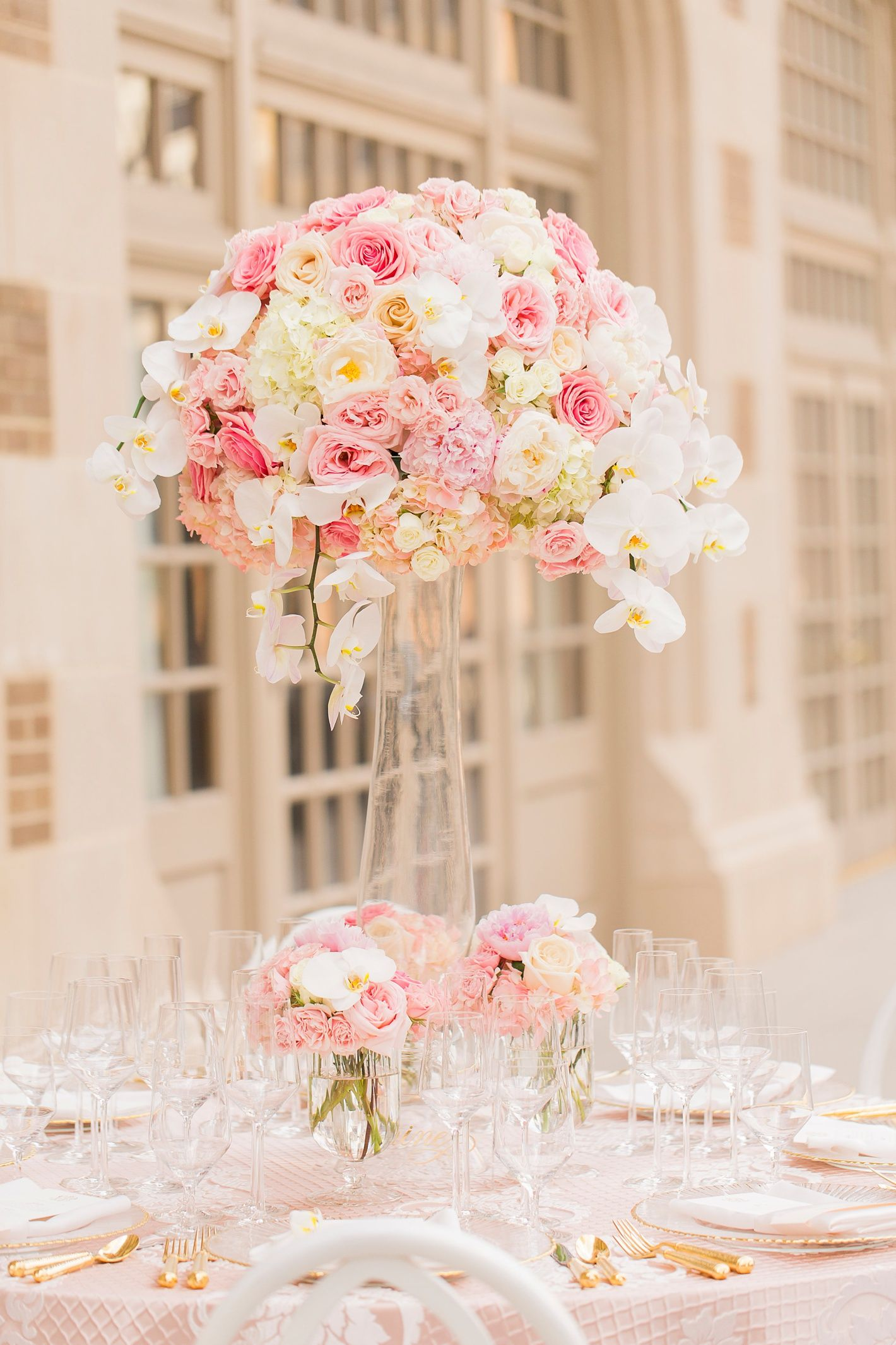 Luxe Tall Pink And White Centerpiece