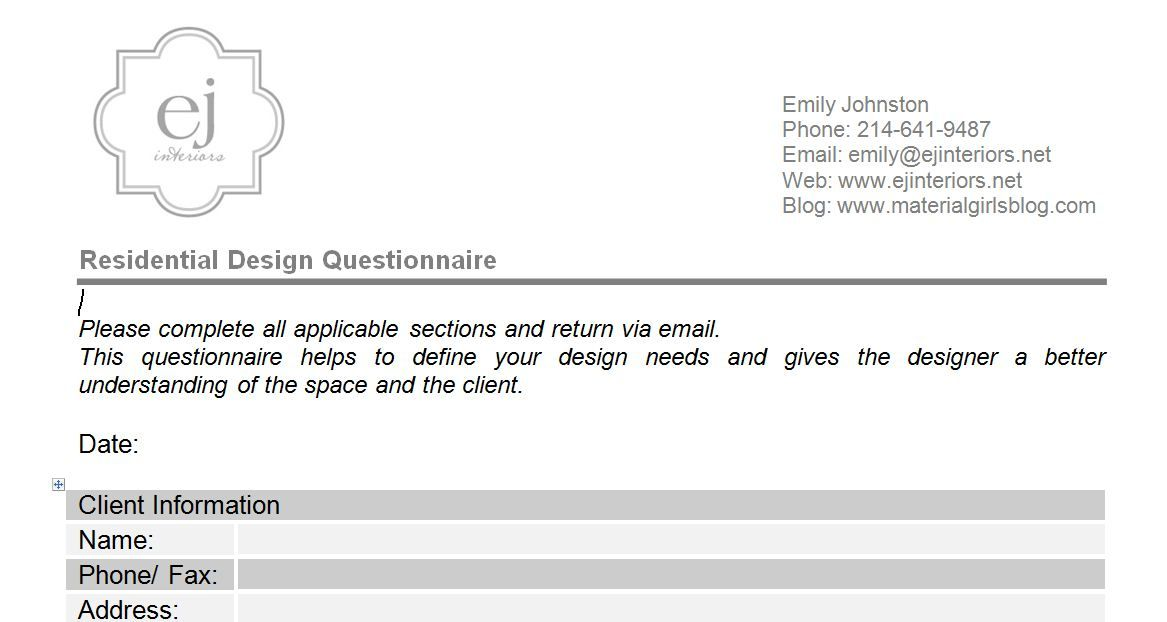 Interior Design Questionnaire For Clients αναζήτηση Google Logo