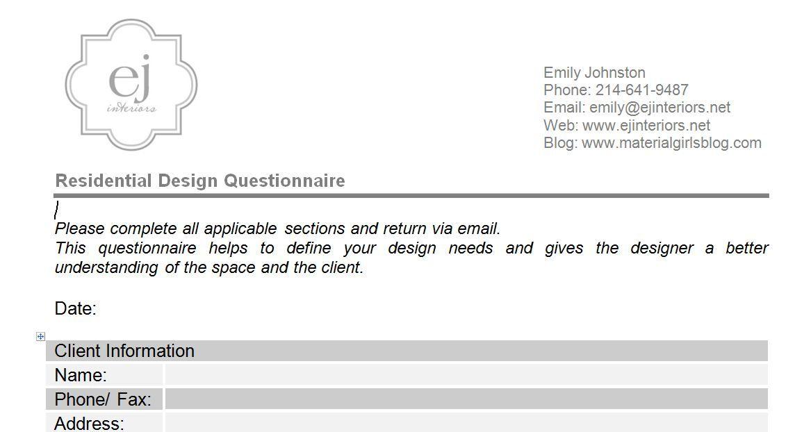 Interior Design Questionnaire For Clients