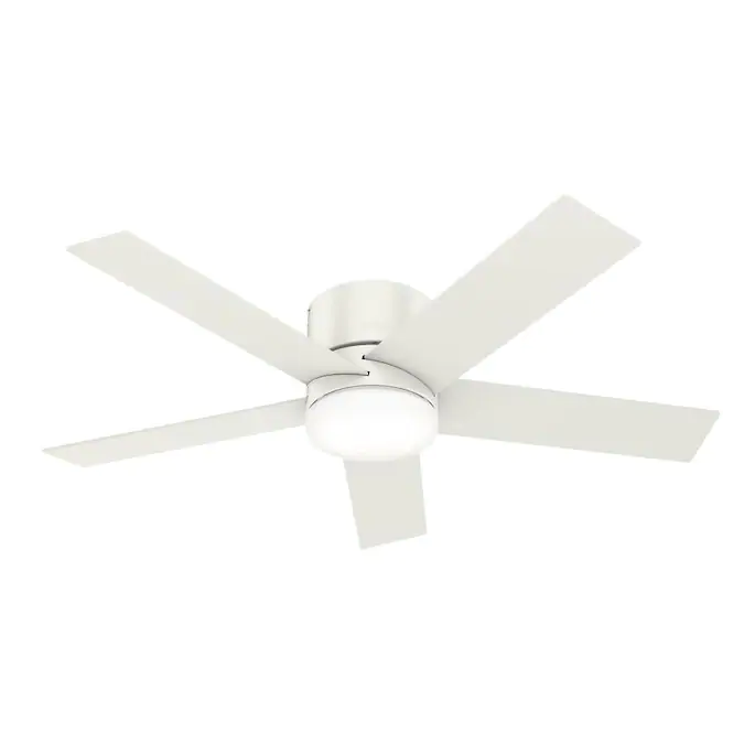 Hunter Low Profile Led 52 In Satin White Indoor Flush Mount Ceiling Fan With Light Kit And Remote 5 Blade Lowes Com In 2020 Ceiling Fan With Light Fan Light White Ceiling Fan