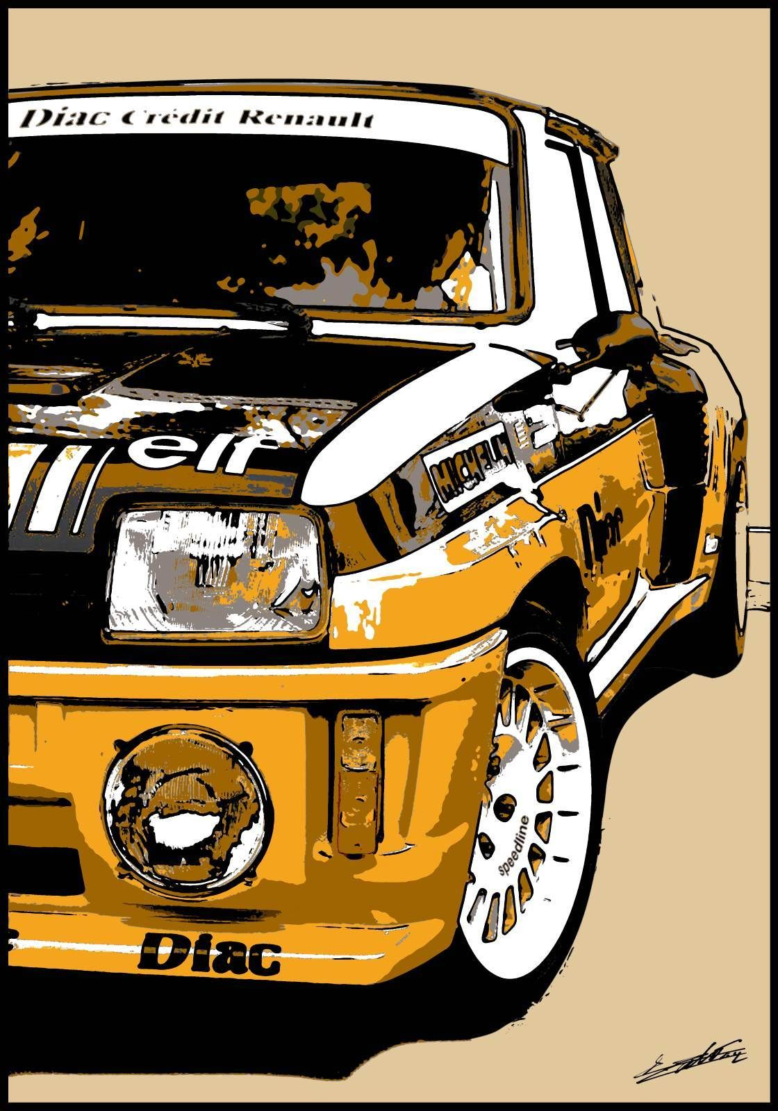 tableau voiture course sport fran aise comp tition rallye peinture pop art moderne deco design. Black Bedroom Furniture Sets. Home Design Ideas