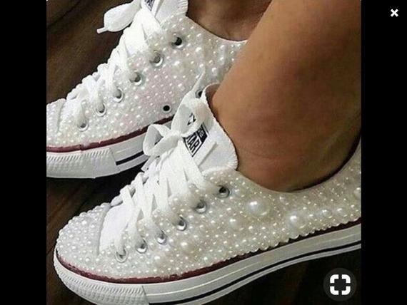 Pearl Converse   Wedding sneakers, Wedding converse, Wedding