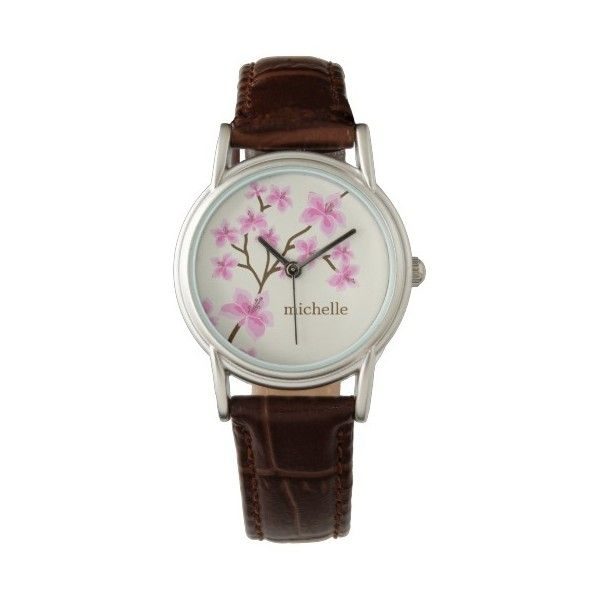 Pink Cherry Blossoms Watches ($47) ❤ liked on Polyvore featuring jewelry, watches, pink jewelry, pink watches, pink wrist watch and cherry blossom jewelry