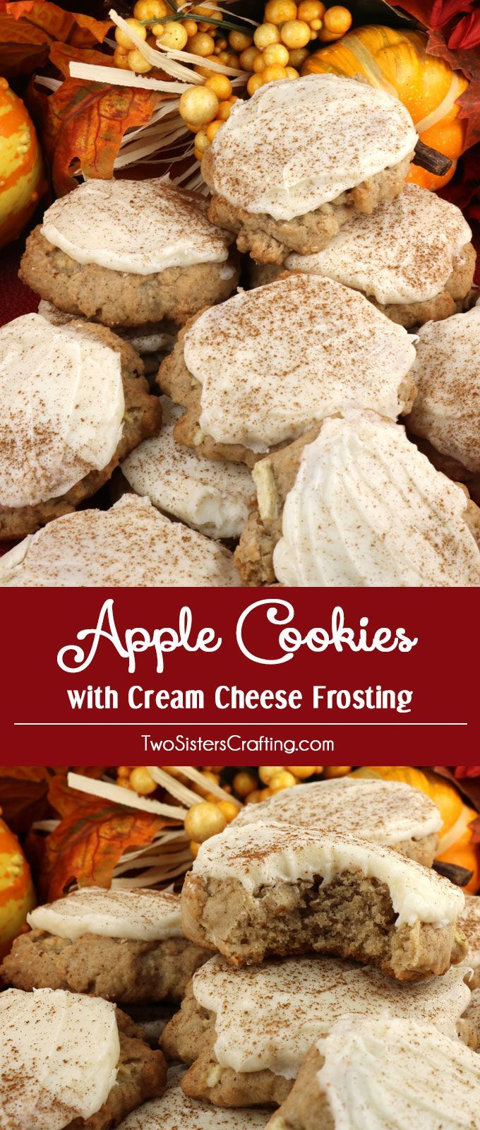 Apple Cookies and Cream Cheese Frosting Our Harvest Marble Chocolate Chip Cookies are a classic cookie dressed up for Fall and Thanksgiving. #simpleicingrecipe