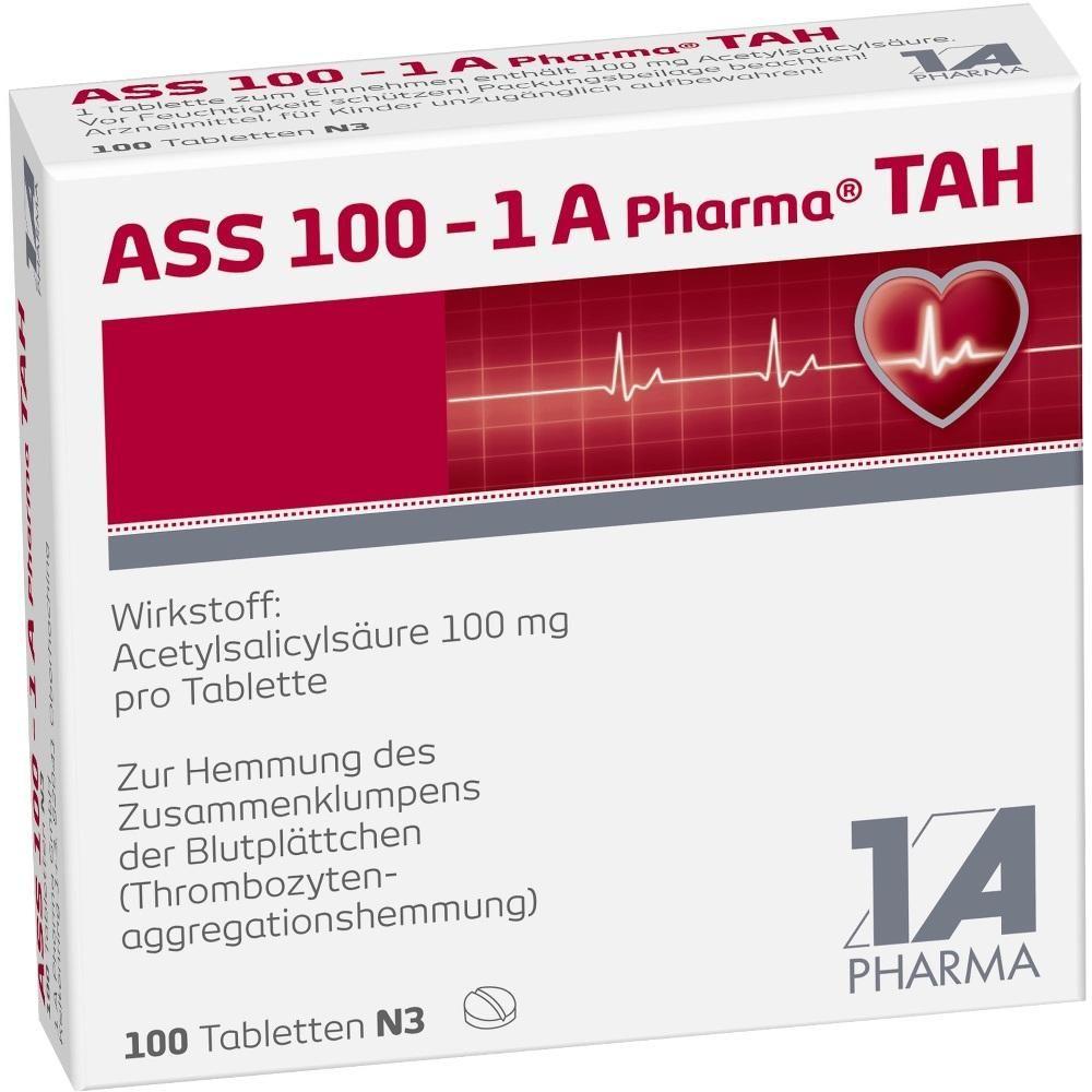 ASS 100 1A Pharma TAH Tabletten:   Packungsinhalt: 100 St Tabletten PZN: 06312077 Hersteller: 1 A Pharma GmbH Preis: 1,77 EUR inkl. 19 %…