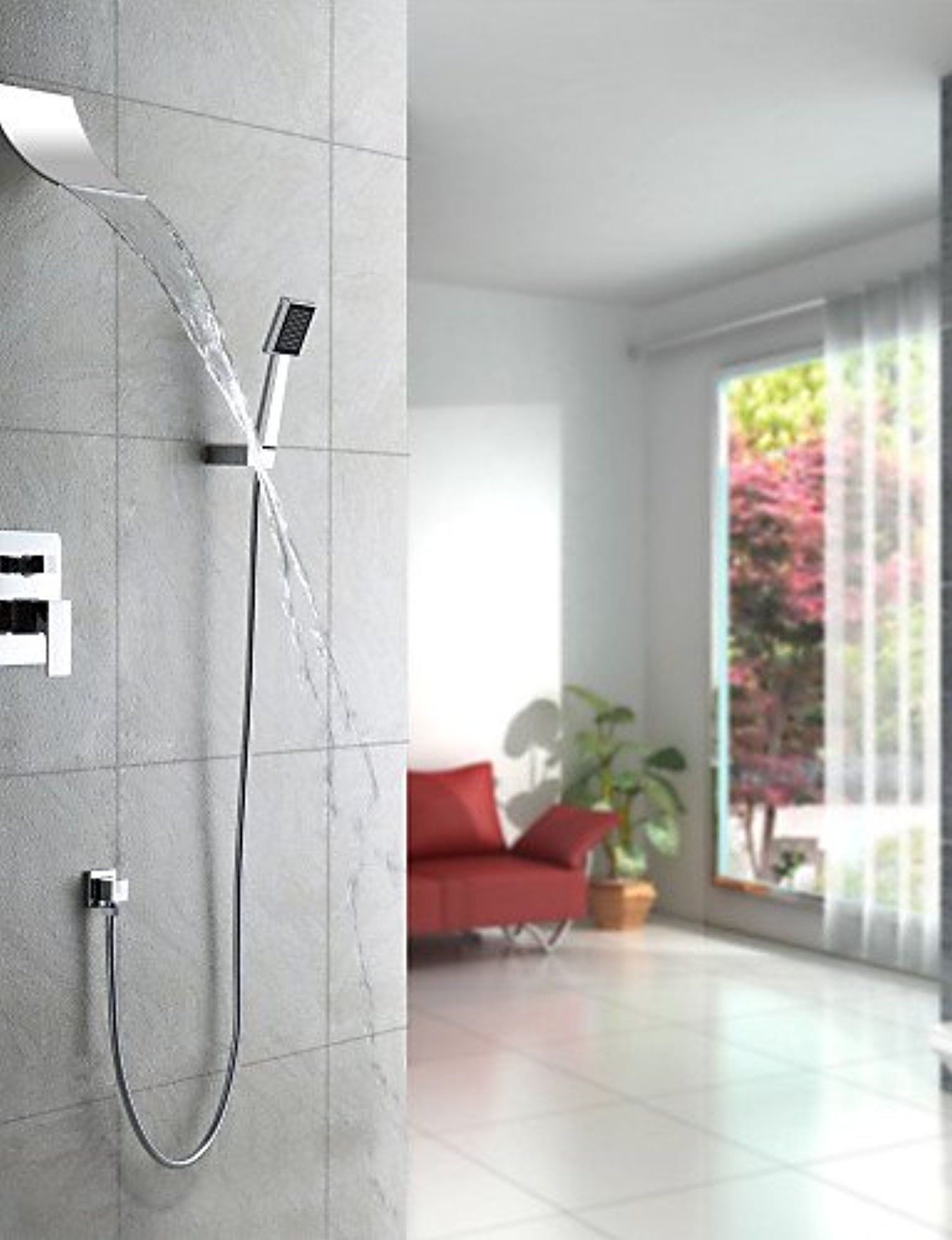 XXW Showers Sets Contemporary Waterfall Shower Faucet with Shower ...
