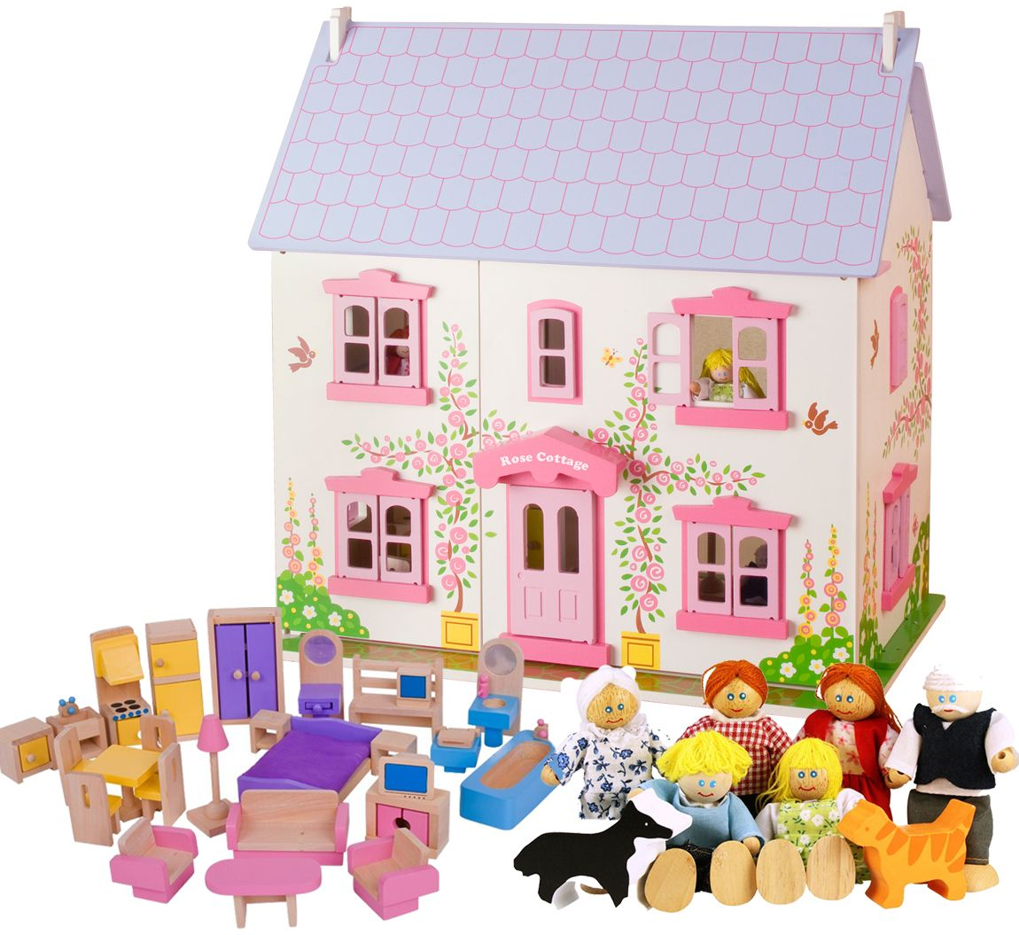 Captivating House · Bigjigs Rose Cottage Dolls House + Furniture U0026 Family