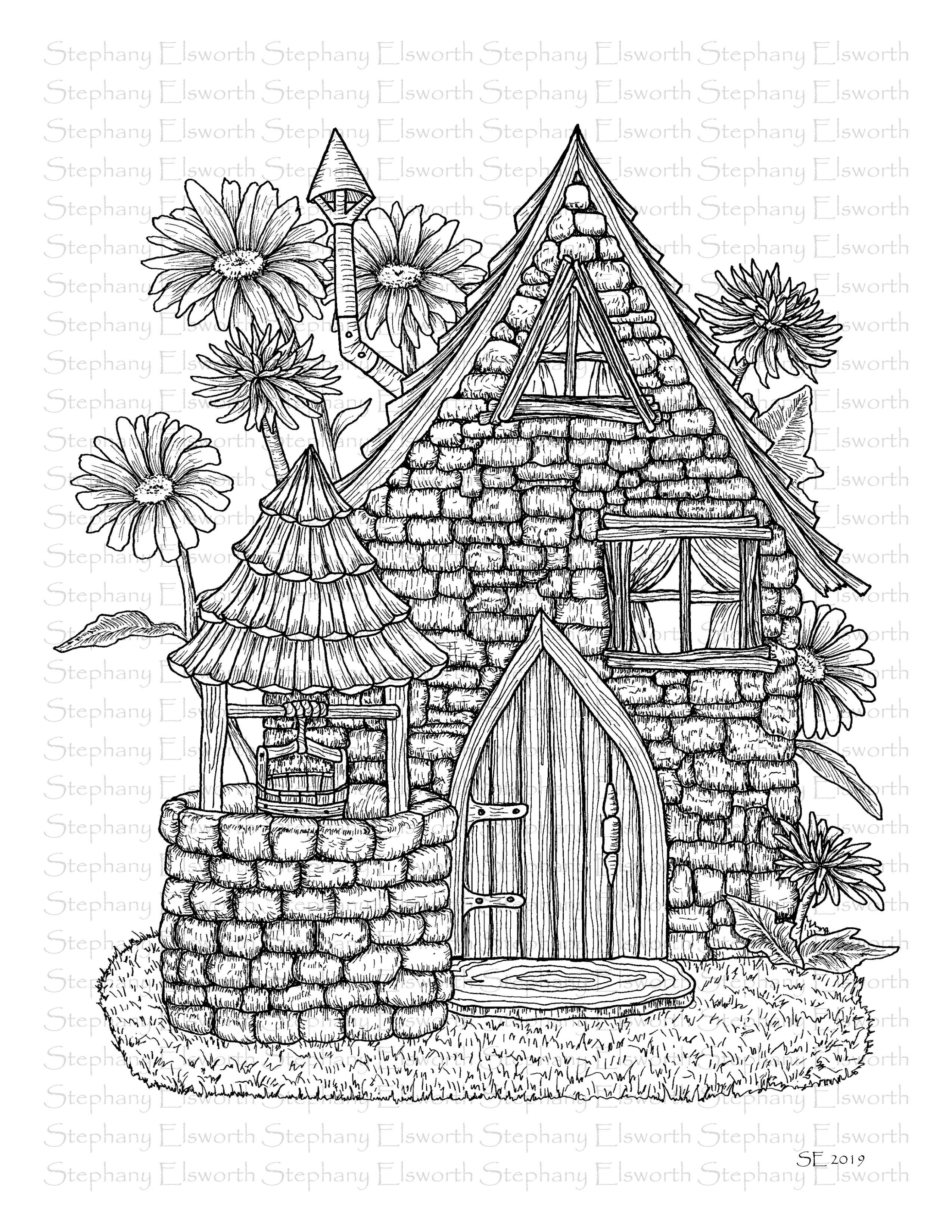 Faerie Houses Ii Pdf Coloring Book Color With Steph Fairy Coloring Pages Coloring Books Coloring Pages
