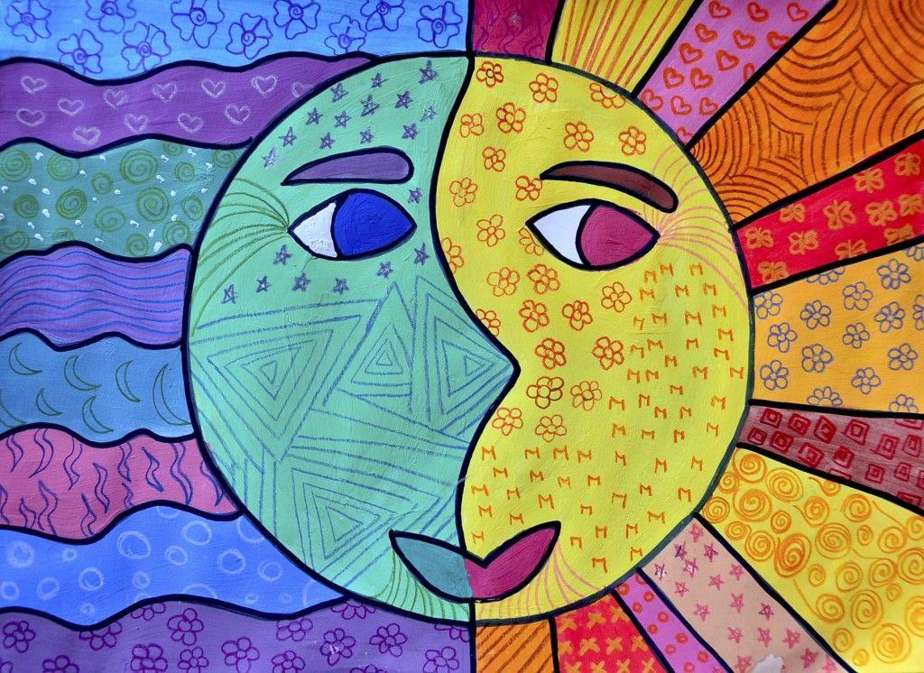 Sole E Luna A Colori Caldi E Freddi Arte Del Colore Scuola