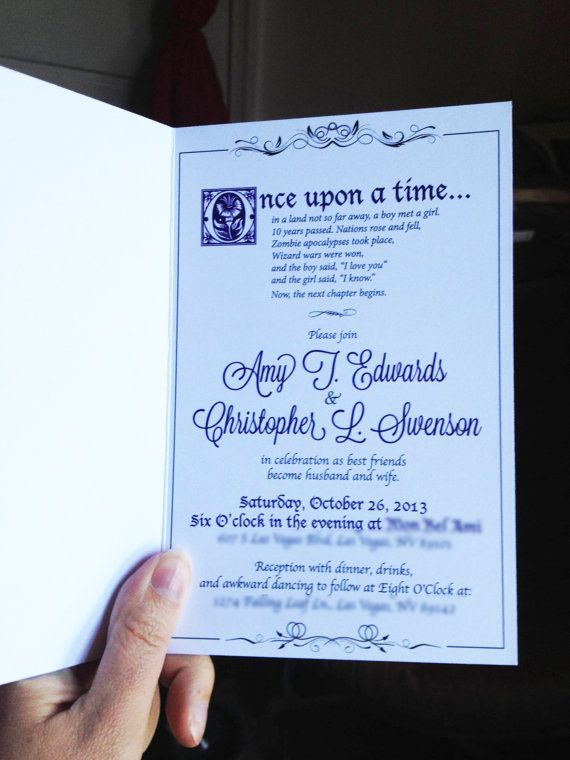 Fairytale Wedding Library Book DIY Invitations Wedding