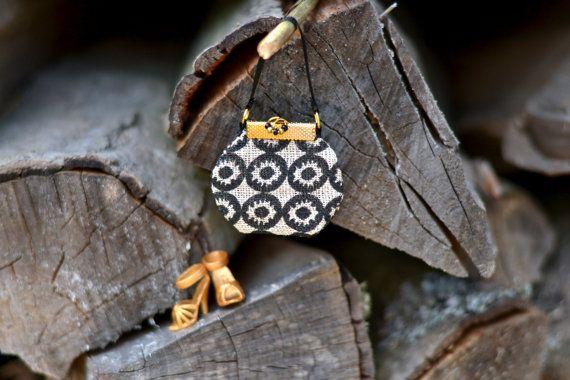 Doll handbag -fashion doll accessories, black, gold handbag, linen