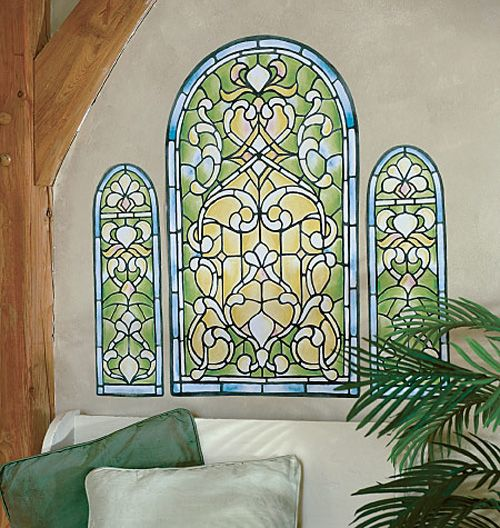 Stained Glass Window Wall Mural Art Deco Murals Sticker Wallpaper Window Mural Window Wall Mural Mural Wall Art
