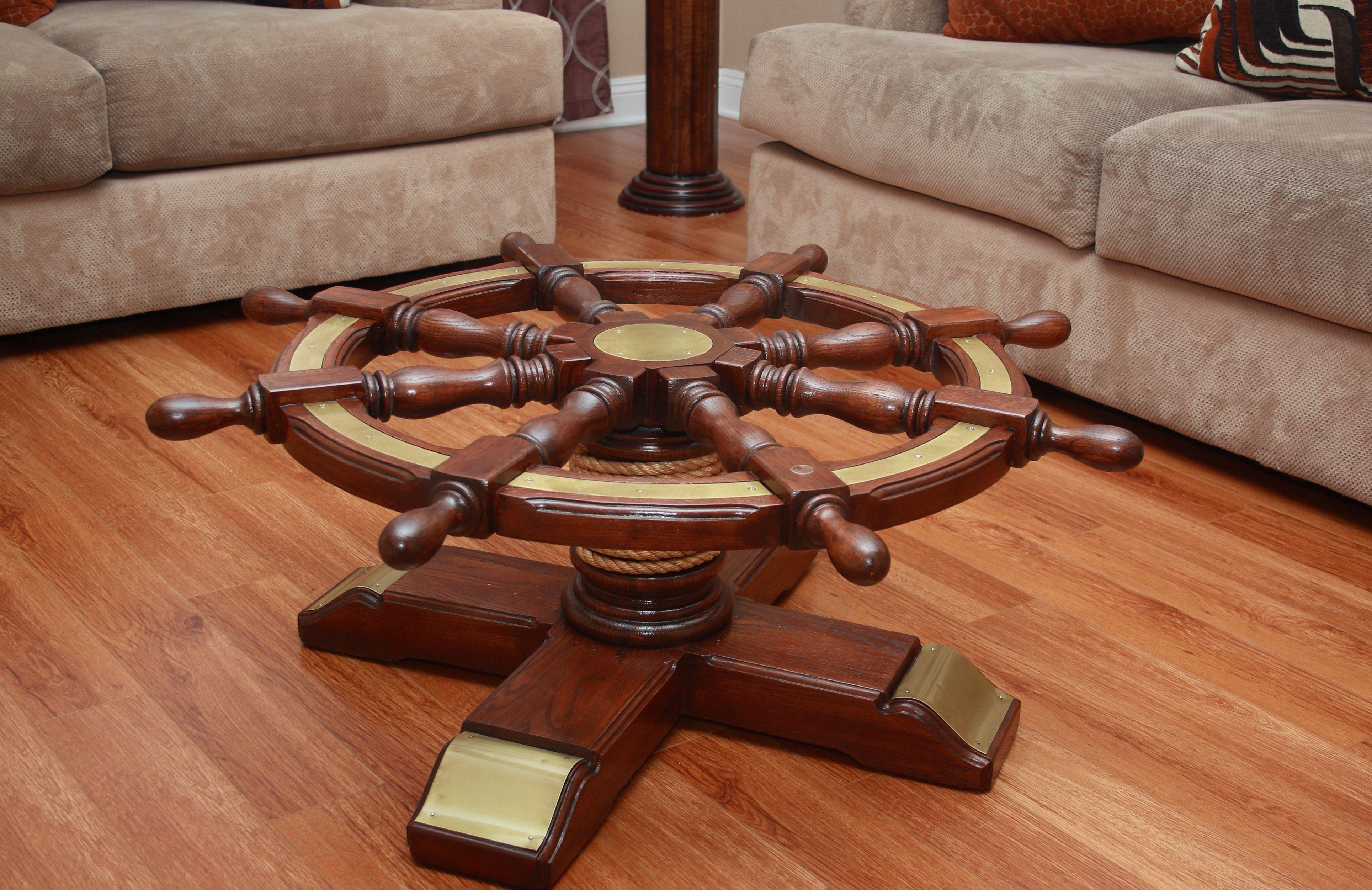 For Gl Top Coffee Table Ship Wheel Nautical Navy Marine Window