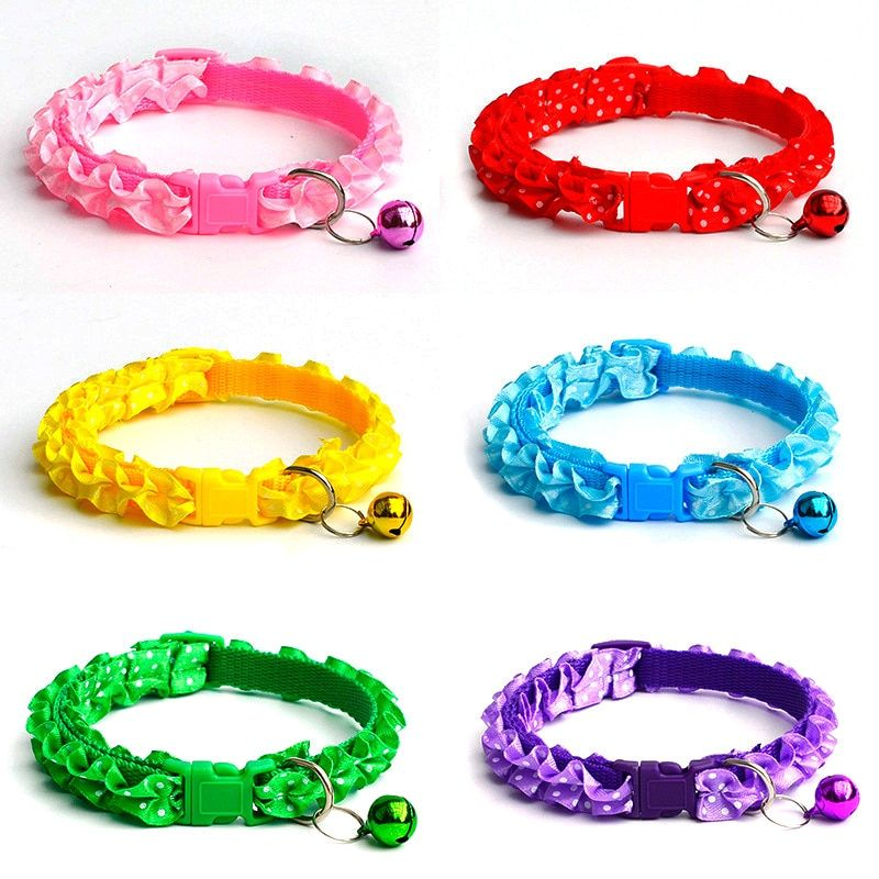 Chihuahua Cat Dog Lace Collar Adjustable Buckle Bell Puppy Kitty Pet Supplies