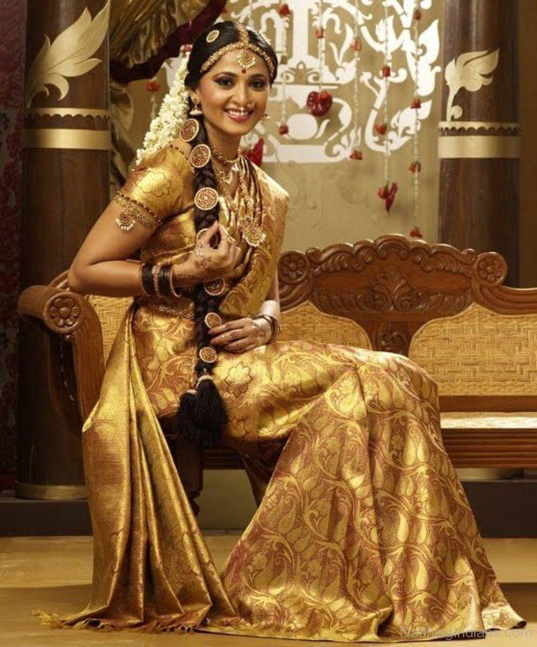 Anushka Shetty in a Golden Silk  Saree