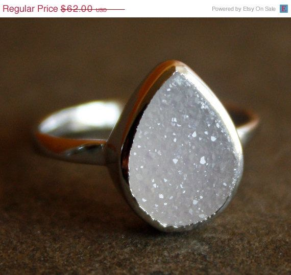 BOXING DAY SALE Silver White Agate Druzy Ring - Teardrop - Sterling, Stacking Ring. $49.60, via Etsy.