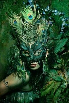 green peacock Mask