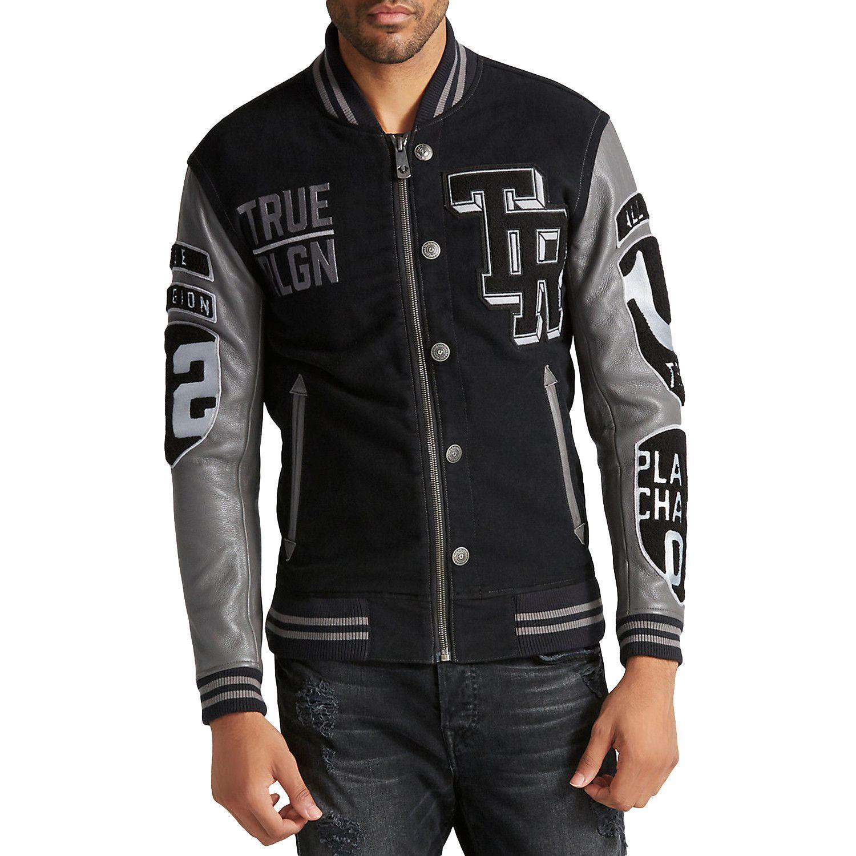 True Religion Collegiate Moleskin Varsity Fashion Leather Bomber Jacket - Mens