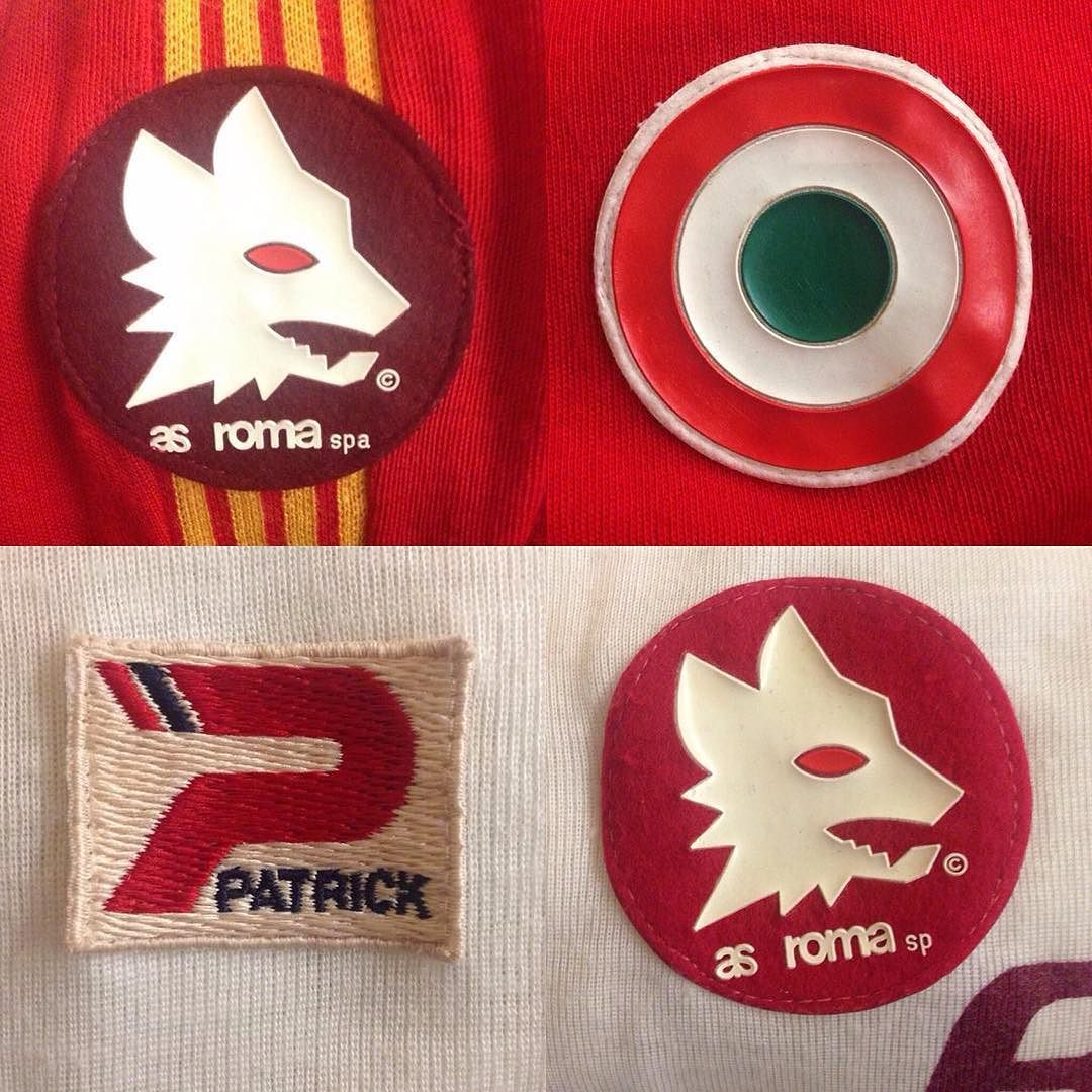 The Devil is in the Detail - various versions from Roma shirts - straight in the design chapter #asroma #giallorossi #football #footballshirts #soccerjersey #soccer #calcio #seriea #bookstagram #design #vintage #patrick #roma by nealheardtrainers