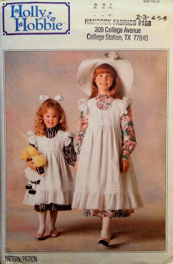 HOLLY HOBBIE Dress & Pinafore Sewing Pattern - Halloween Costume Doll Clothes - Little House on the Prairie