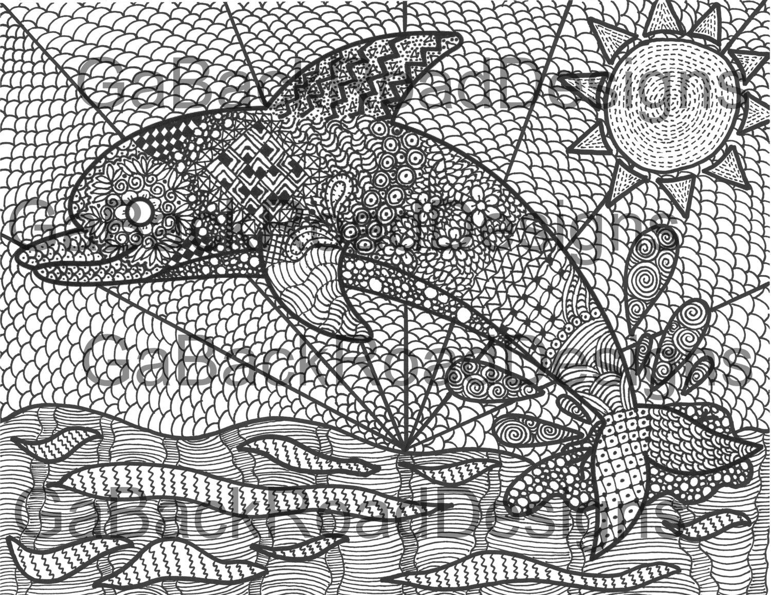 Zentangle Dolphin Coloring Page Pdf Download By GaBackRoadDesigns