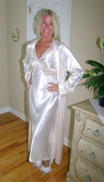 8c2babb58fd8 White Satin Nightgown and White Satin Robe. I love this gown
