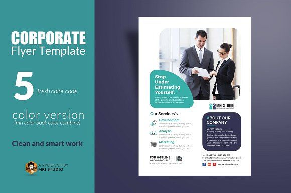 Corporate Flyer Template by MRI STUDIO on @creativemarket Flyer - corporate flyer template