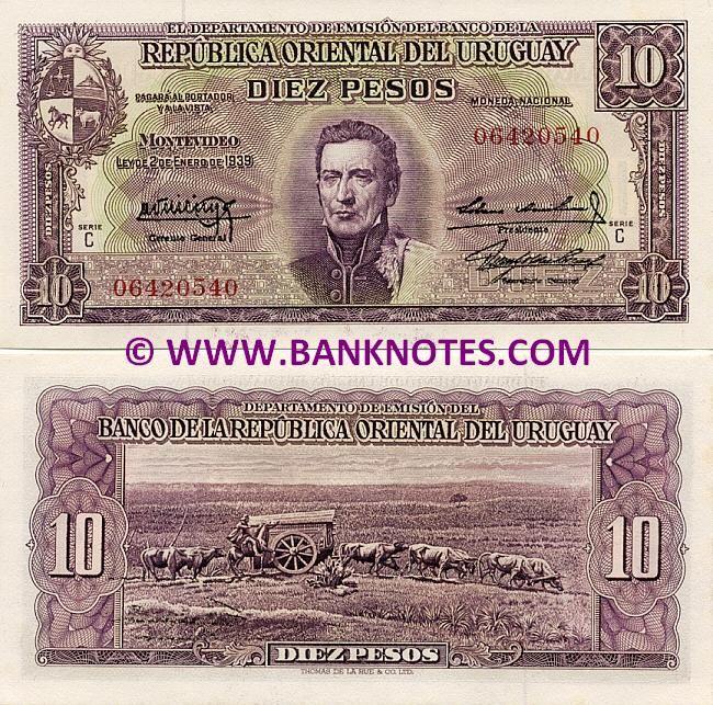 Uruguay 10 Pesos 1939 1966 Obverse Portrait Of General Jose