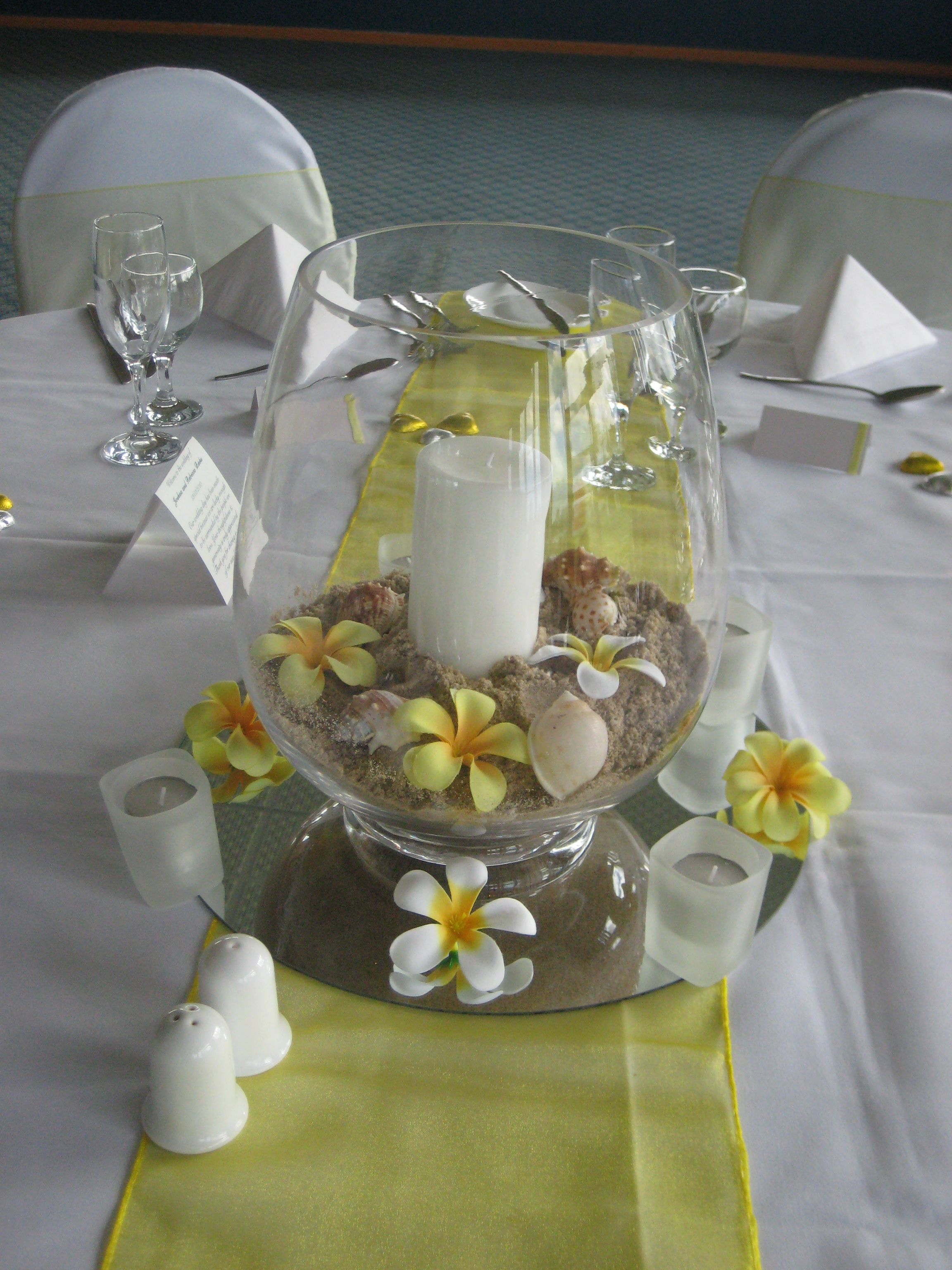 Beach theme centerpieces storm lantern mirror with