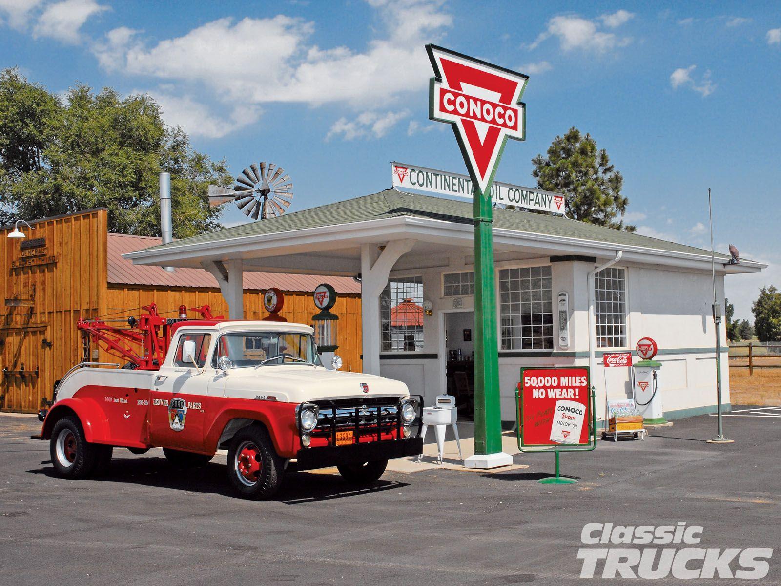 0612clt 07 O 1957 Ford F350 Pickup Truck Conoco Gas Station Jpg