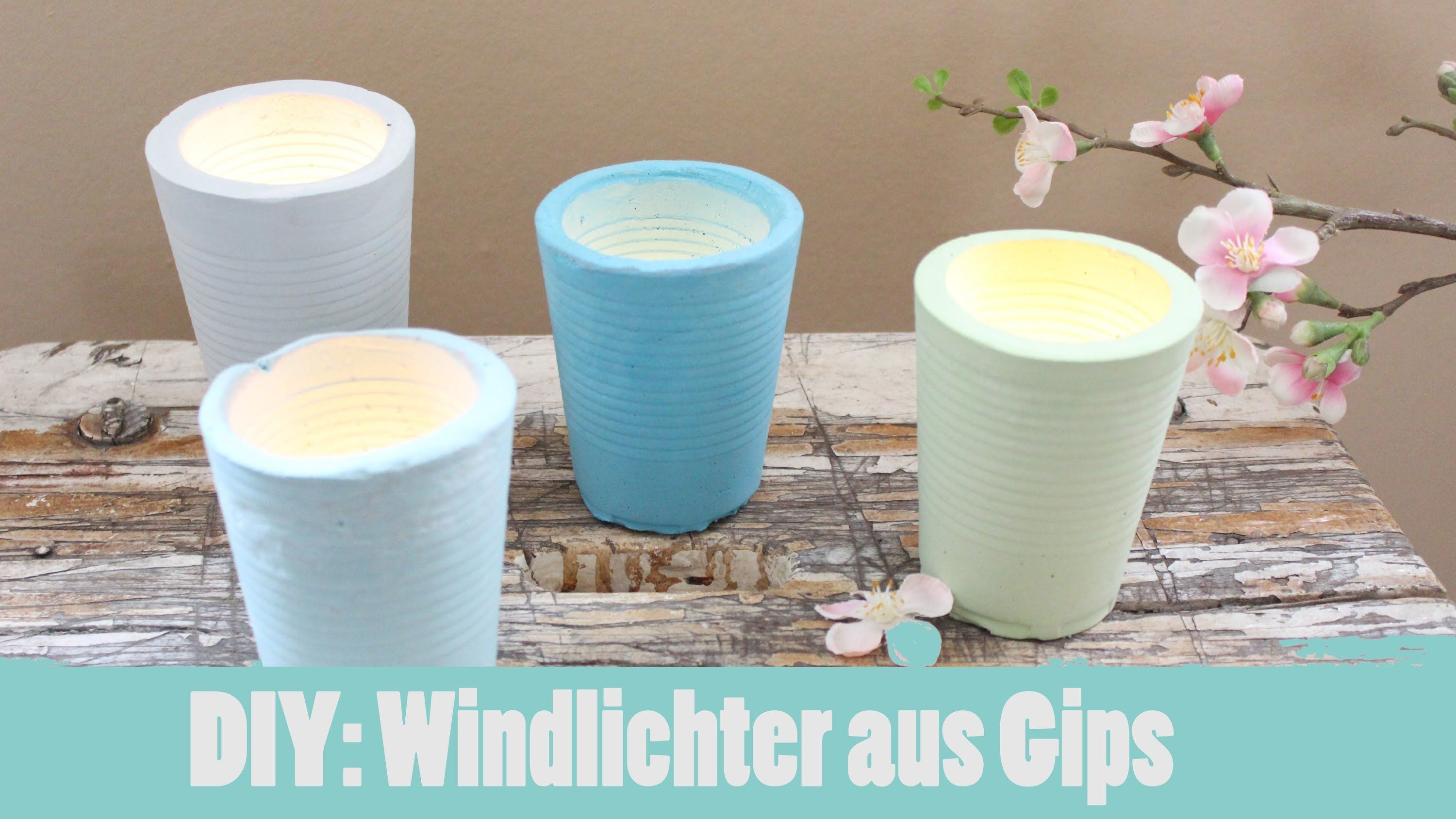 diy shabby chic gipswindlichter in pastellt nen beton pinterest. Black Bedroom Furniture Sets. Home Design Ideas