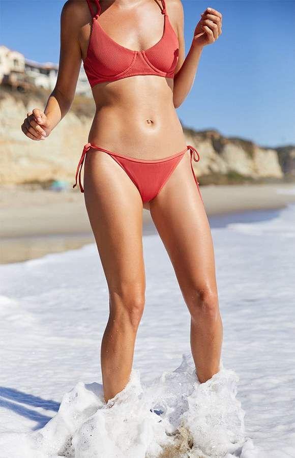 16e96b96f5bfd LA Hearts Red Ribbed Side Tie Cheeky Bikini Bottom in 2019 ...
