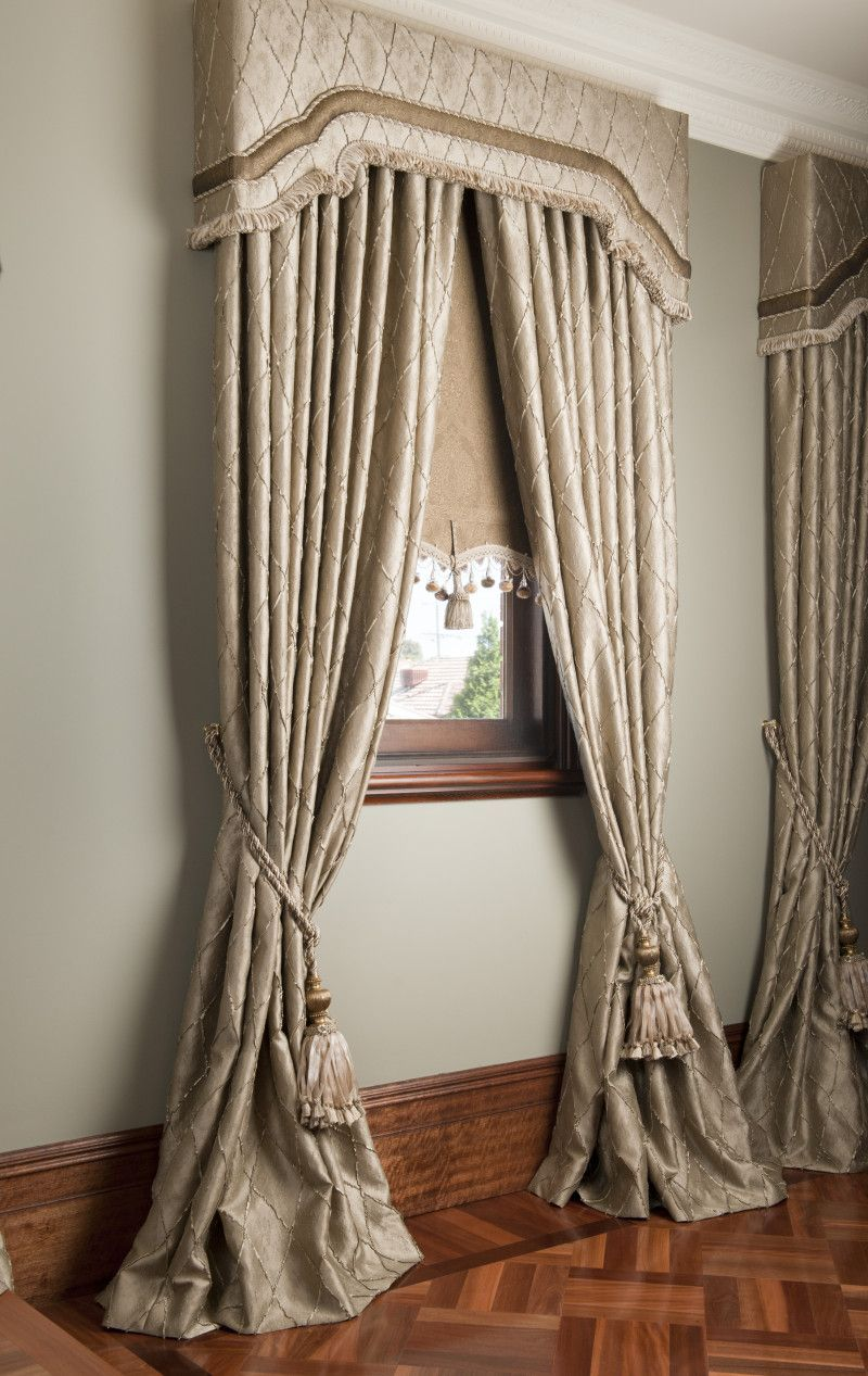 Bamboo Sliding Panel Track Blinds: Drapes With Matching Pelmets And Bonded Roller Blinds
