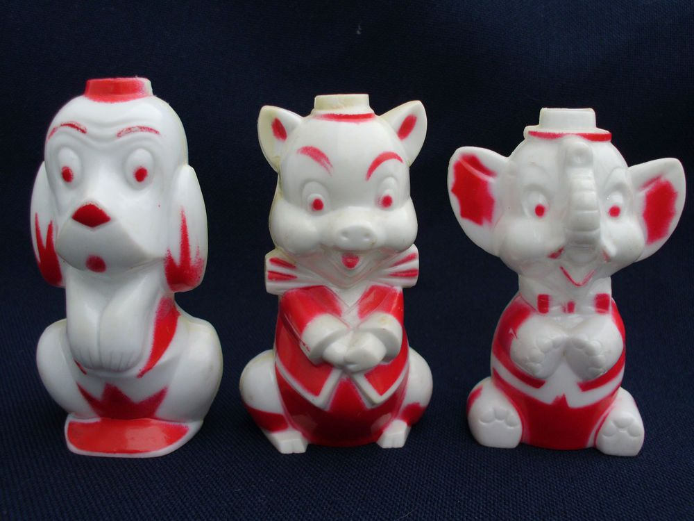VINTAGE 1950s ROSBRO HARD PLASTIC VALENTINE DOG PIG ELEPHANT CANDY CONTAINER TOY