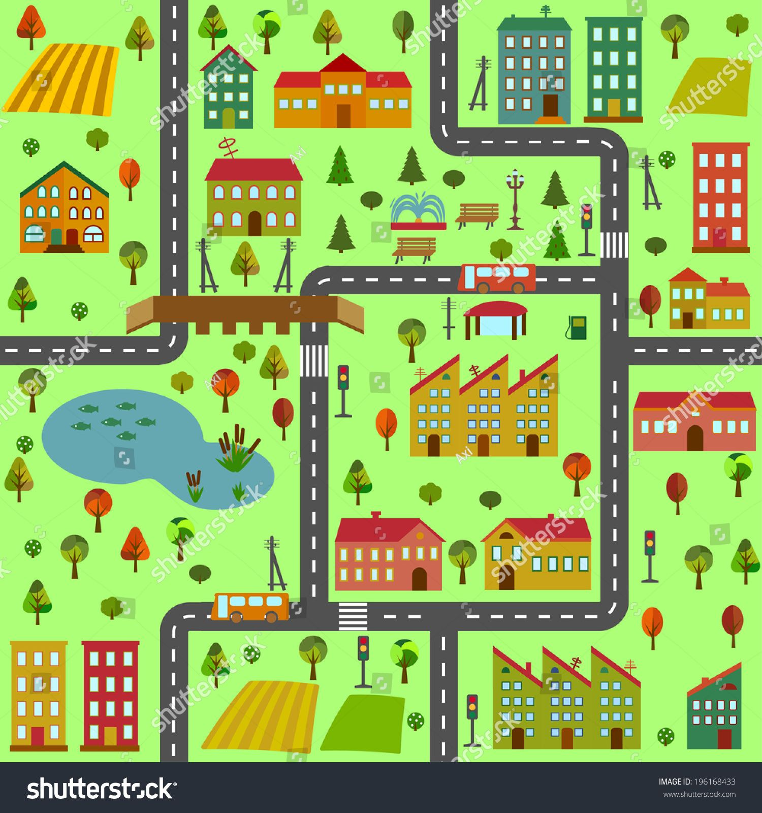 Cartoon Illustration Of A Map Of The City With Different