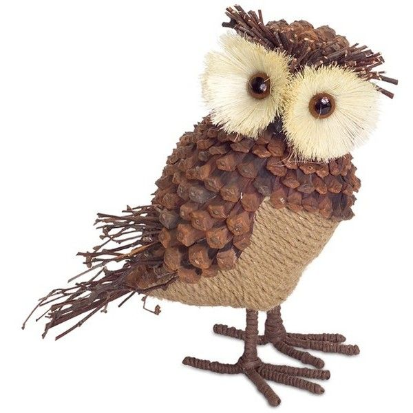 Melrose Gifts Burlap U0026 Pinecone Owl Decoration ($30) ❤ Liked On Polyvore  Featuring Home