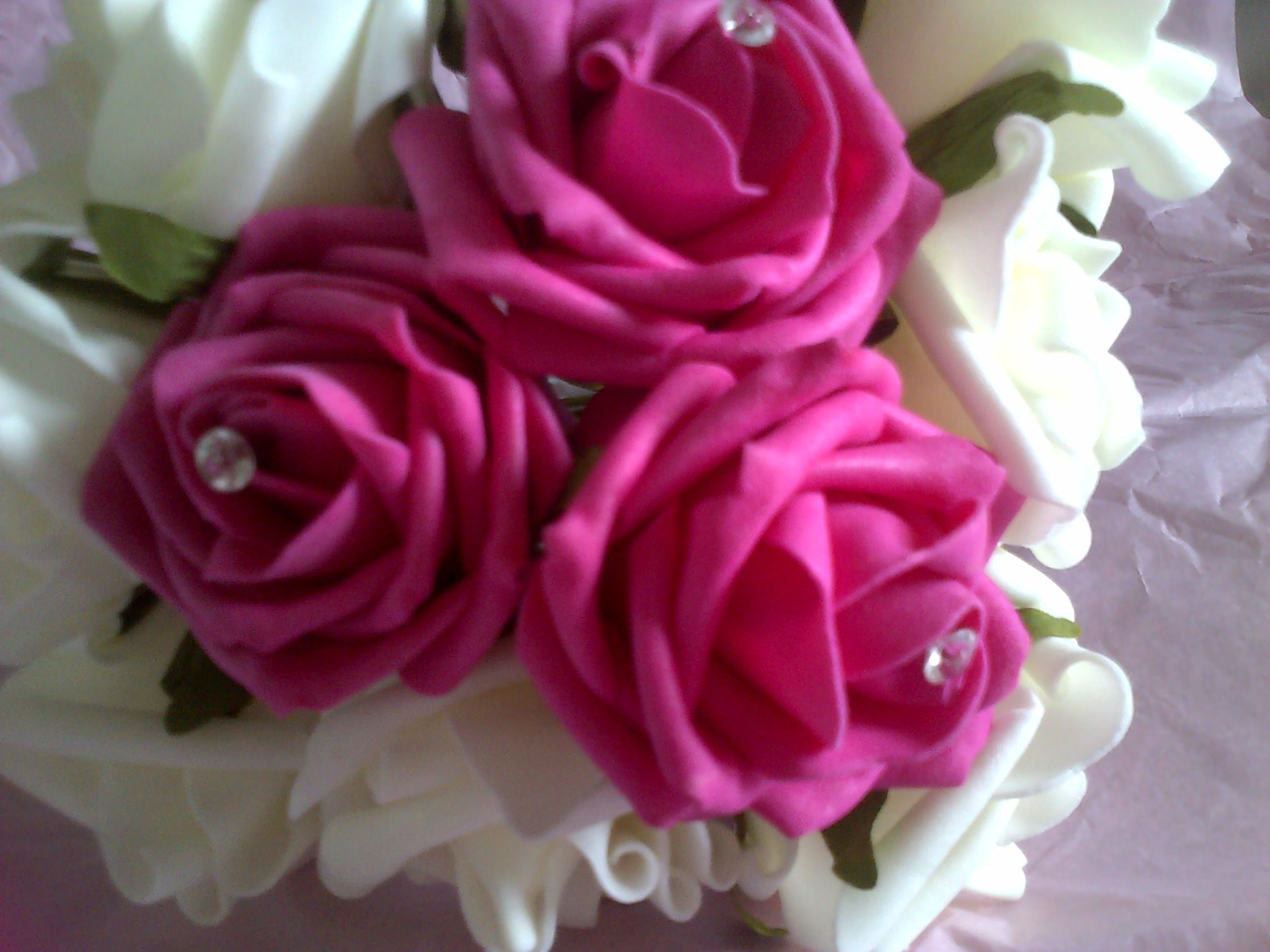 Hot Pink Foam Roses With Diamante Centres Surrounded With White Foam