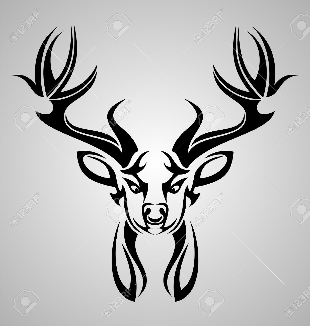 the gallery for gt tribal deer head design stylized