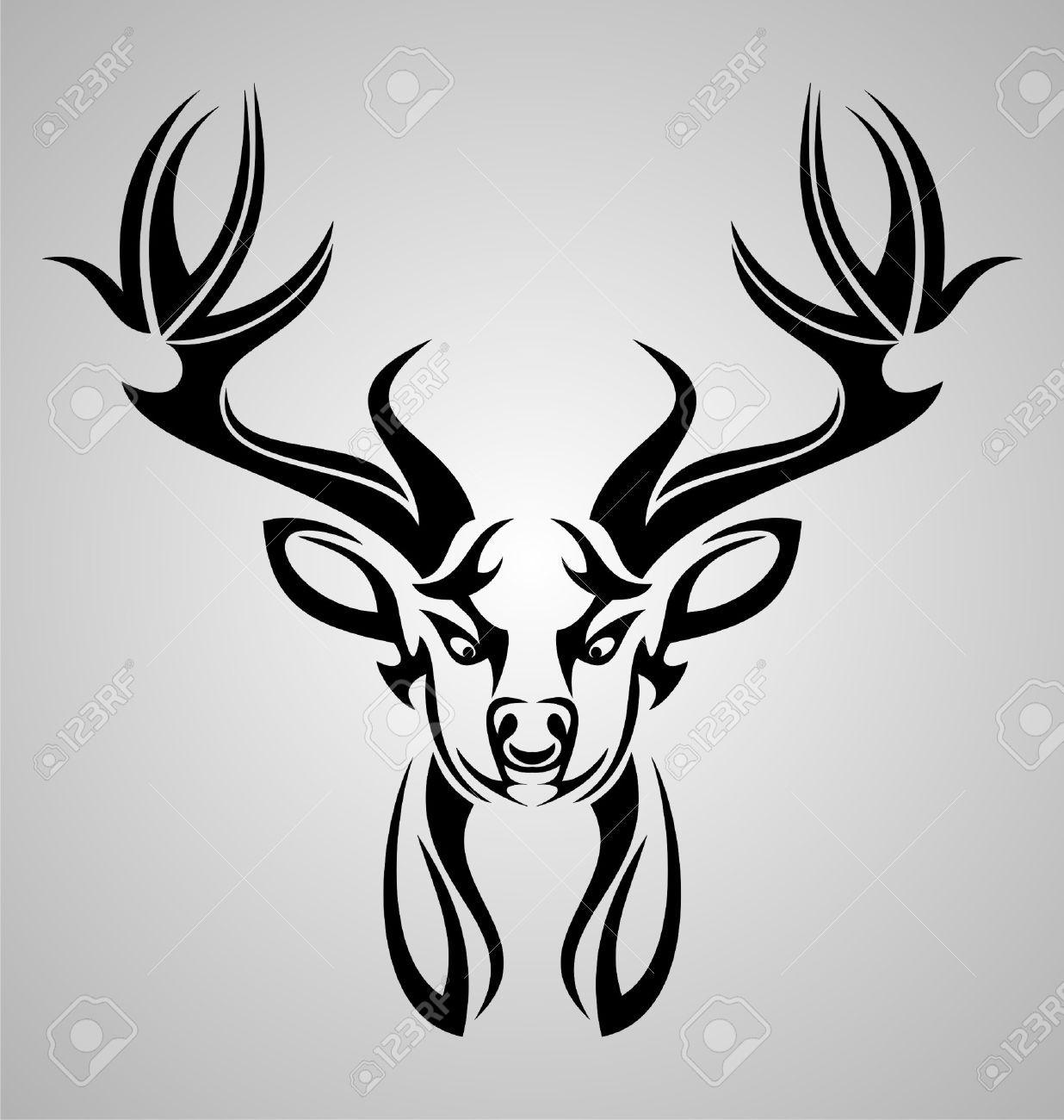 The Gallery For Tribal Deer Head Design Tribal Artwork Deer Elk Tattoo