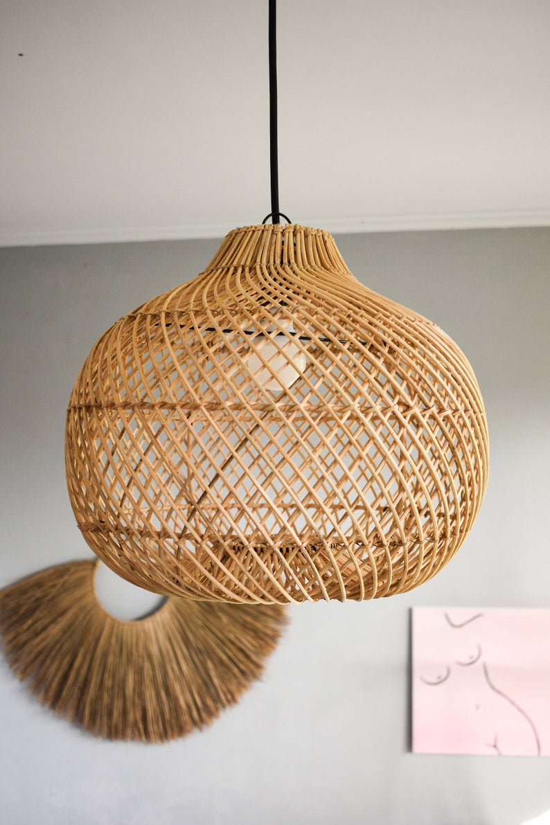 Handmade Rattan Lamp Shade Wicker Lamp Rustic Pendant Light Etsy In 2020 Rattan Lamp Rustic Pendant Lighting Wicker Pendant Light