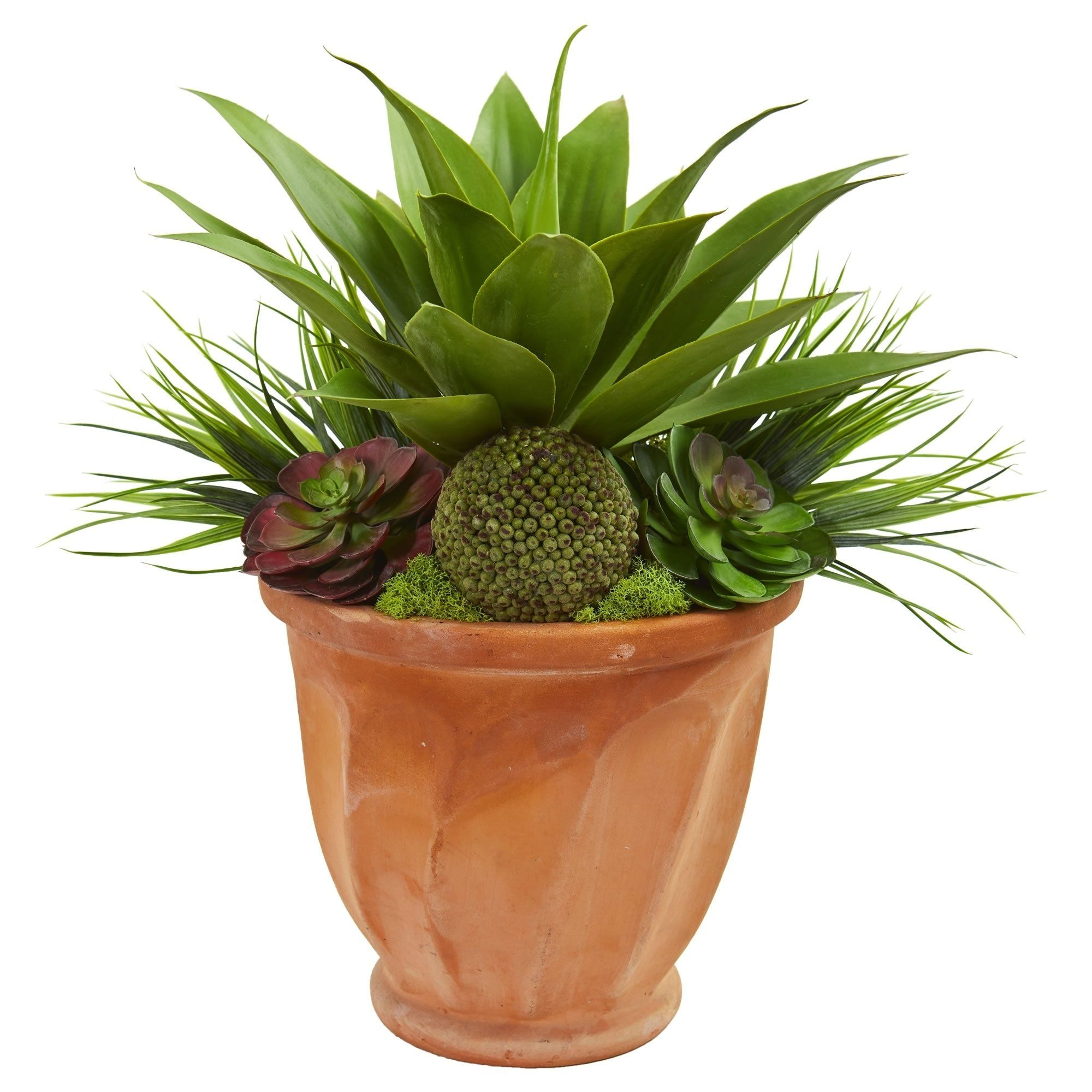 Succulent Garden Artificial Plant In Terra Cotta Planter Red Nearly Natural Products In 2019 Artificial Plants Succulents Garden Plants