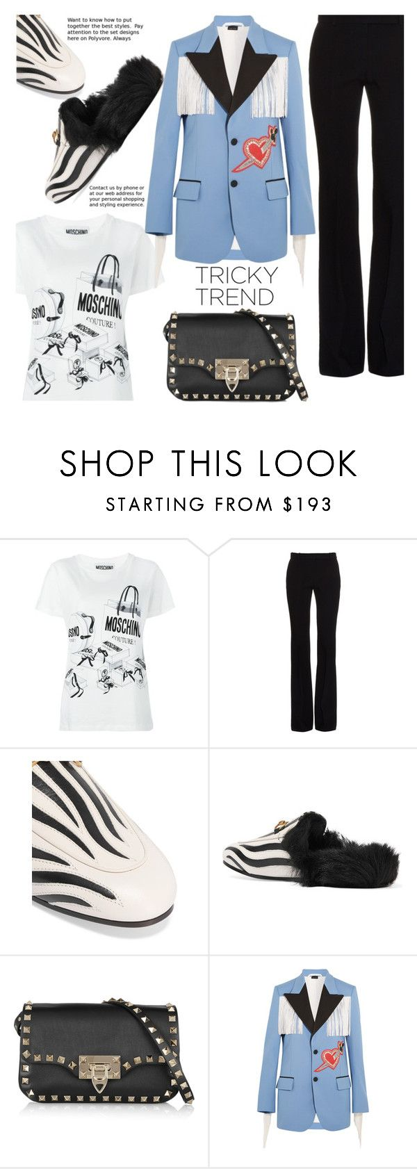 """New Trend"" by gabrilungu ❤ liked on Polyvore featuring Moschino, Alexander McQueen, Gucci and Valentino"