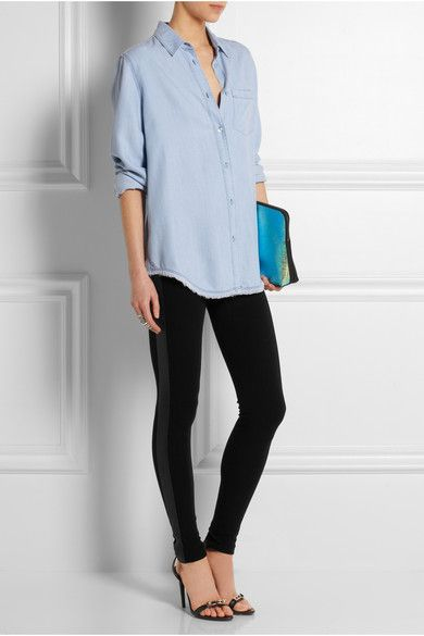 EMILIO PUCCI Leather-paneled stretch-jersey leggings