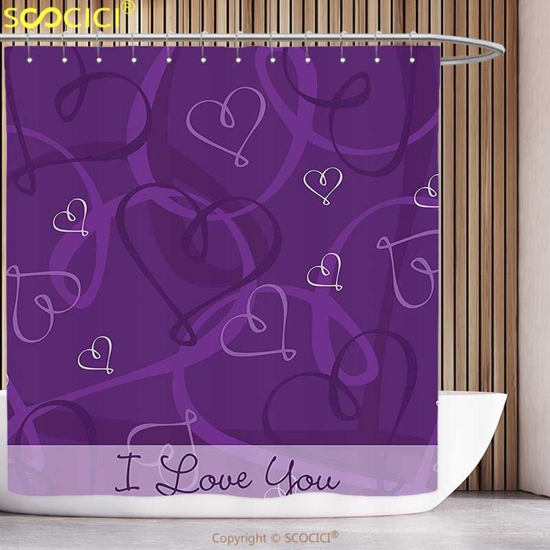 Funky Shower Curtain Indigo Lavender Colored Romantic Themed Image With Hand Drawn Hearts Image Eggplant Purple And Lilac Funky Shower Curtains
