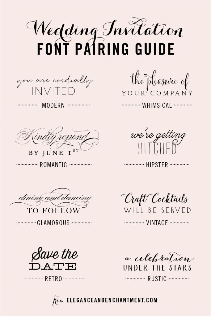 Wedding Invitation Font and Pairing Guide from Elegance and