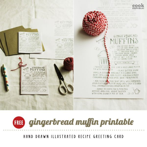 I love Kawaii Gingerbread Muffins and Free Printable Recipe Card - printable greeting card templates