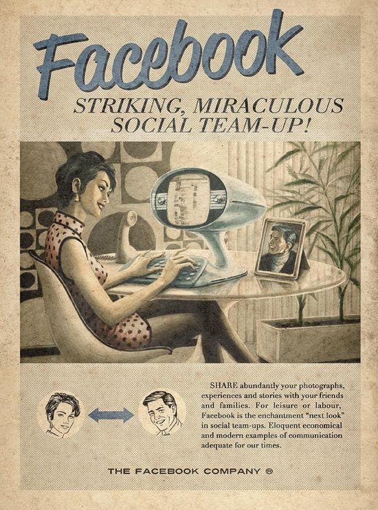 """Sao Paulo ad agency Moma Propaganda created a wondeful series of retro future ads for Facebook, YouTube and Skype as part of the """"Everything Ages Fast"""" ad campaign for Maximidia Seminars."""