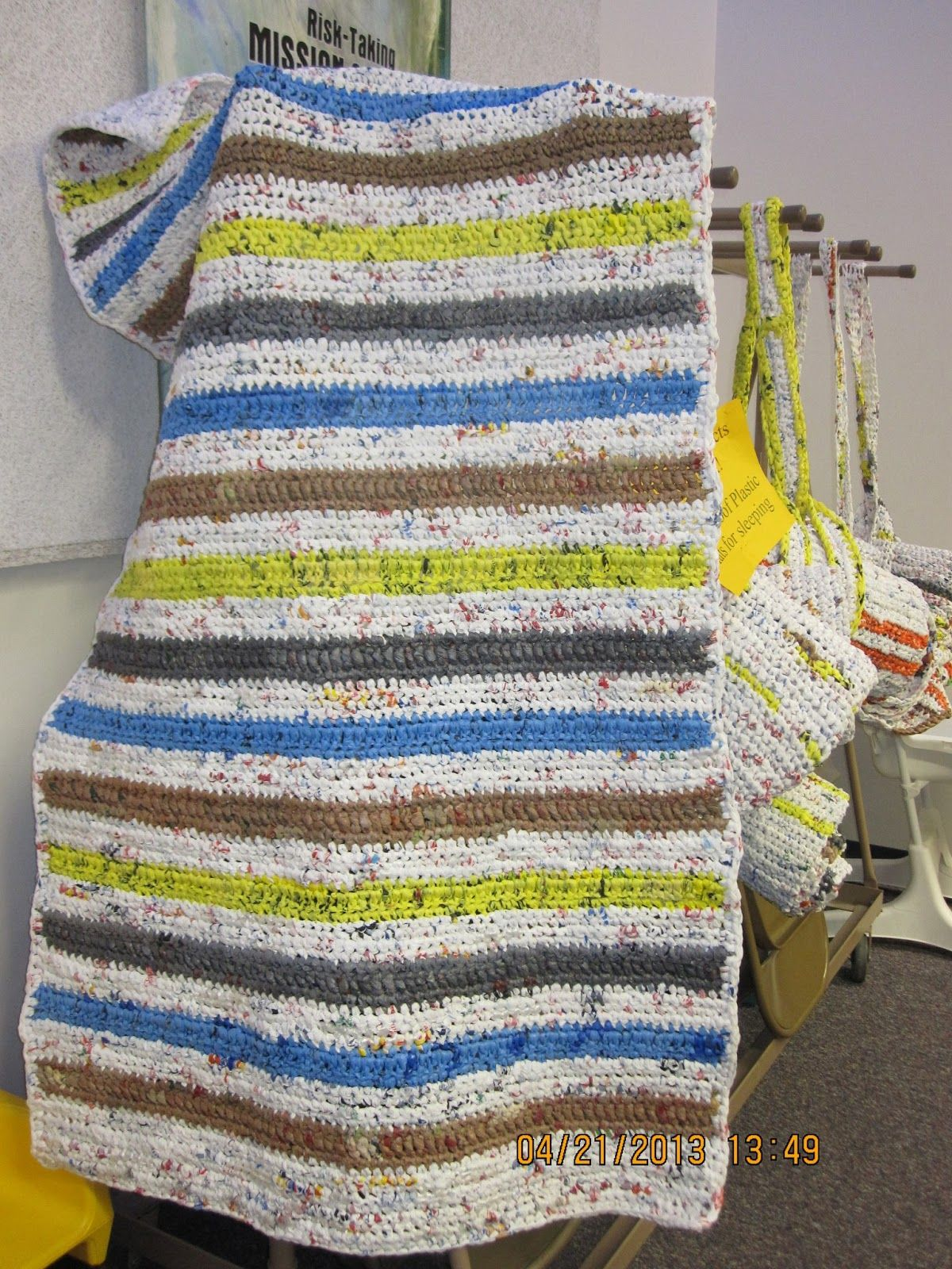 Plarn Blankets For The Homeless Great Idea Is Yarn Made Of Plastic Bags