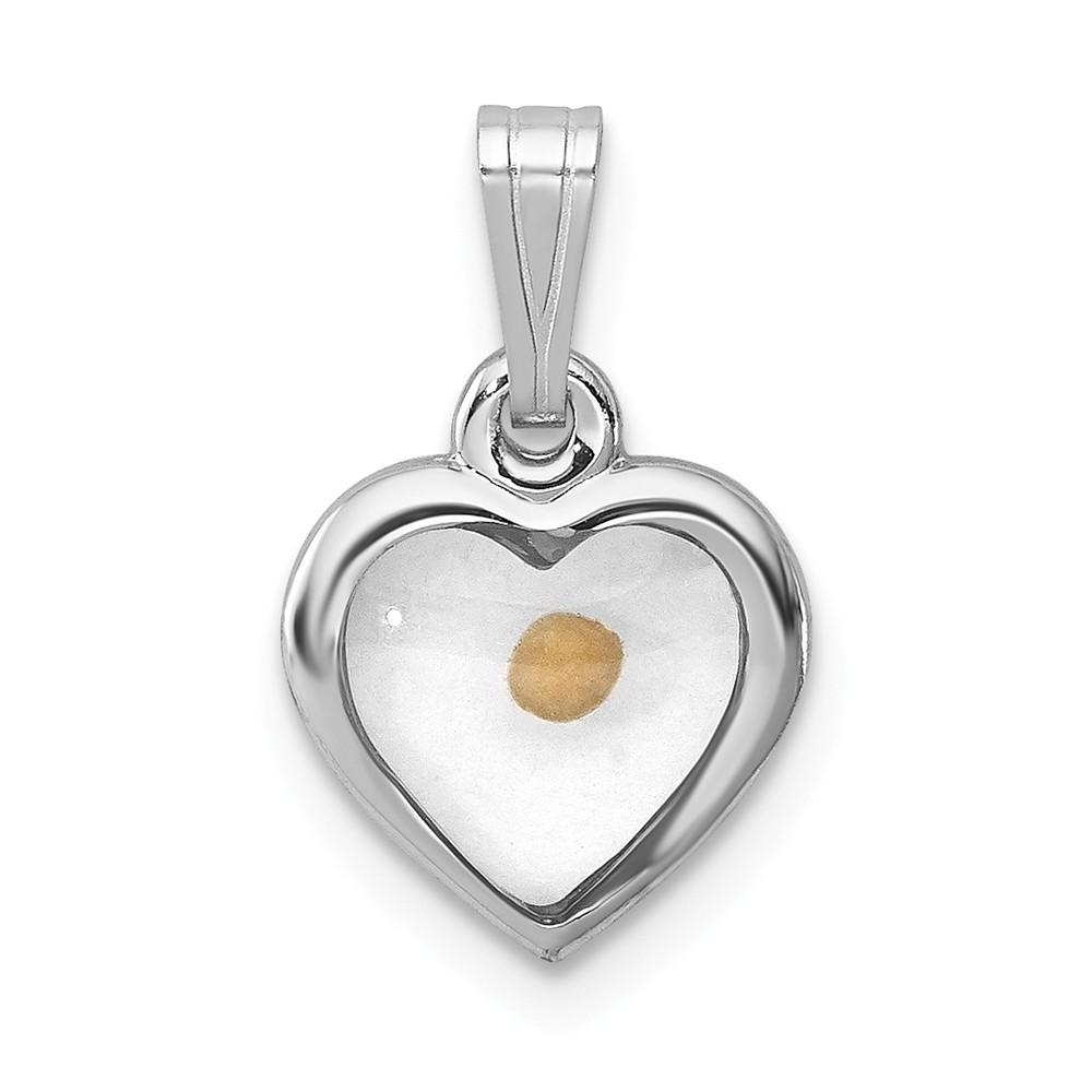 925 Sterling Silver Rhodium Plated Small Heart Shaped with Mustard Seed Pendant