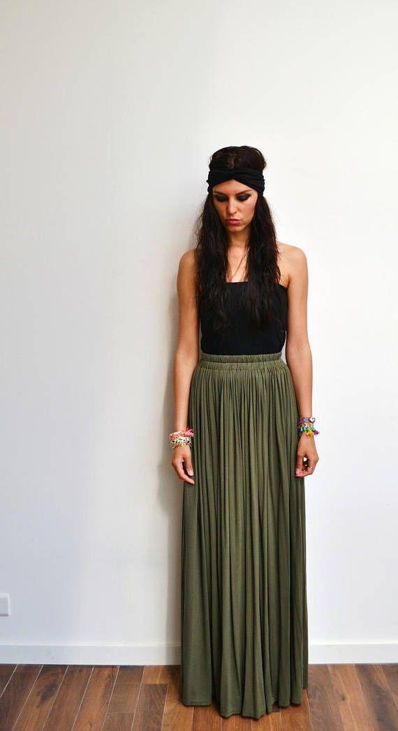 khaki skirt maxi skirt high waist long green jersey hippie skirt skirt long winter or summer. Black Bedroom Furniture Sets. Home Design Ideas